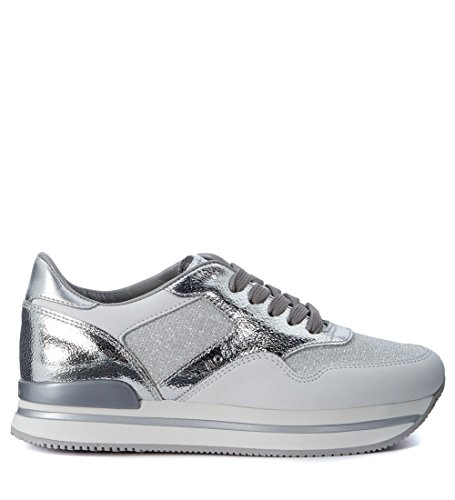 Sneaker Hogan H222 in pelle bianca e argento e tessuto Argento