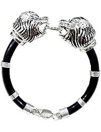 6c75fae9bca Kukshya 92.5% Sterling Silver Lion Head Black Rubber Bracelet for Men