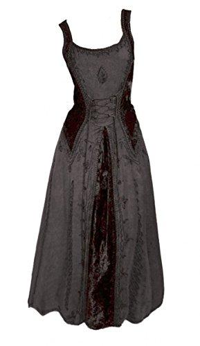 Dark Dreams Gothic Mittelalter LARP Kleid Samt bestickt Schnürung Guinerva, Farbe:schwarz, ()
