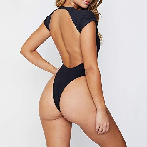 Fleur Thong (SHENGYUNPIO Black Bathing Suit Women Bodysuit High Cut One-Piece Suit Push Up Swimsuit Summer Swimwear Bathers Thong Bikini)
