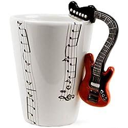 Guitarra Taza de Café Hecho a Mano 8oz Rojo (10cm x 8cm)