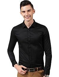 LINNUO Hombre Camisa Manga Larga Slim Fit Camisa de Traje con Gemelos