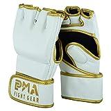 PMA MMA Weiß/Gold Leder Kampf Ringen Handschuhe - Weiß, L-XL