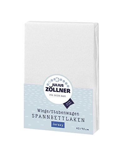 Julius Zöllner 8330013100 Jersey Spannbetttuch für Wiegen 90x40 und Stubenwagen, Farbe: weiß
