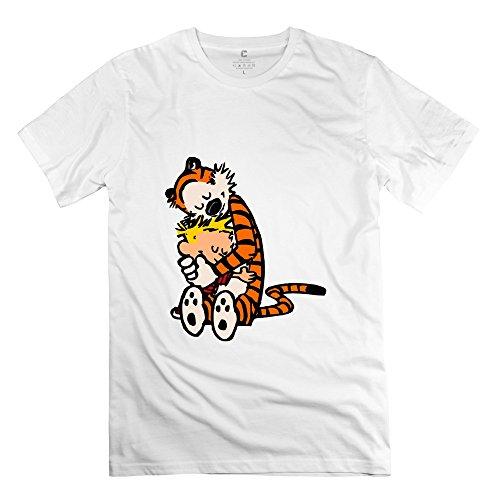 """KST - Herren-T-Shirt """"Calvin And Hobbes Hug"""", kurzärmelig, Vintage-Stil Gr. S, weiß"""