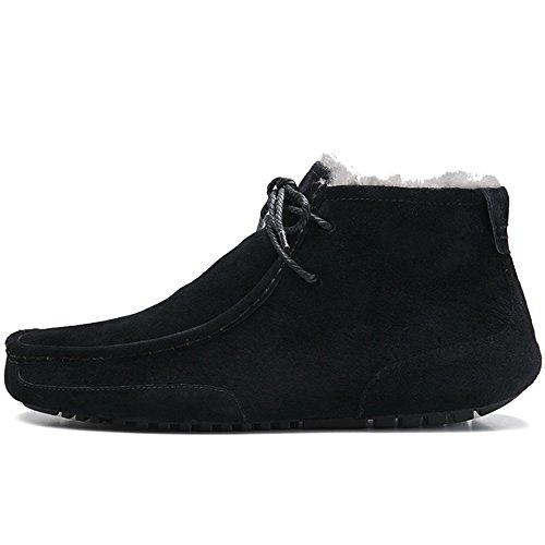 OZZEG Neige hiver masculine bottes mode en cuir bateau chaussures doublure en peau de mouton Noir