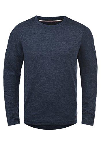 PRODUKT Paavo Herren Longsleeve Langarmshirt mit Rundhals-Ausschnitt aus hochwertiger Baumwollmischung Melier Slim Fit , Größe:XXL, Farbe:Navy Blazer