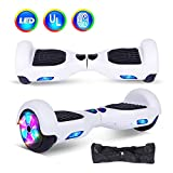 """jolege Smart Self Balancing Electric Scooter 6.5"""" Hover Board for Kids Adult UL 2272 Certified Scooter Board with Free Portable Bag and Charger - White"""