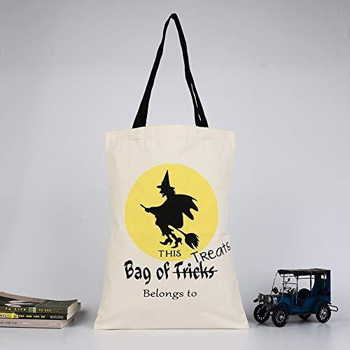 WEYQ Halloween Candy Filzhalter Eimer mit Griff Süßes oder Saures Beutel Kinder Handtasche Tote Goodie Geschenkbeutel für Partydekorationen,A