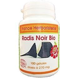 GELULES RADIS NOIR BIO racine 100 gélules dosées à 270 mg poudre pure.