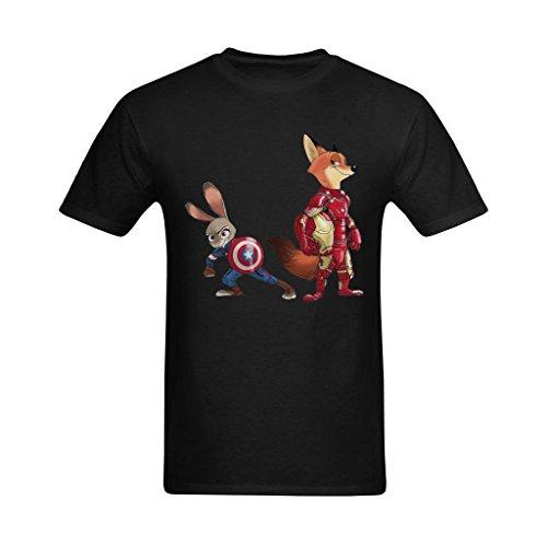 Arnoldo Blacksjd Men's Zootopia Iron Man & Captain America Cosplay T-shirt XXX-Large
