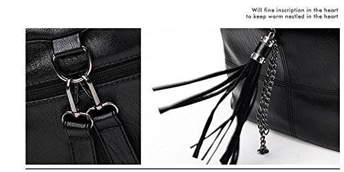 Yan Show Rucksack Beiläufige Quasten Schulter Beutel Multifunktional Kursteilnehmer Beutel /Grau Rot