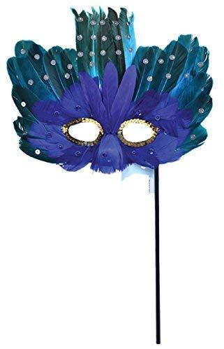Fancy Me Damen Blau Türkis Gefedertes Augen Maske mit Stab Maskenball Karneval Mardi Gras Jahre Party Kostüm Verkleidung Zubehör