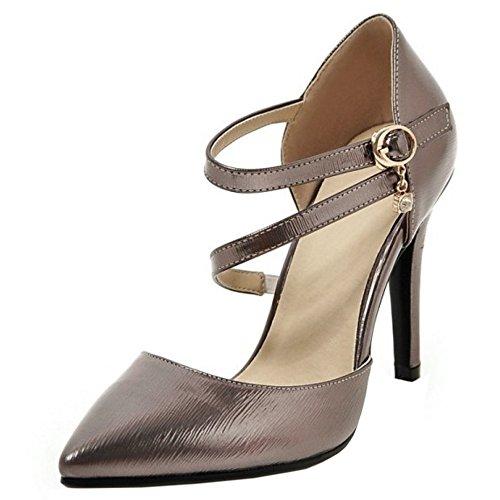 TAOFFEN Femmes Escarpins Mode Aiguille Talons Hauts Pointu Chaussures De Boucle Noir Argent