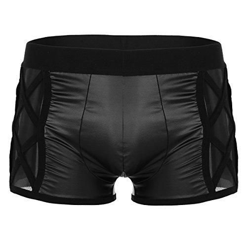 iiniim Homme Sous-vêtements Short Faux Cuir Transparent Fesse Côté Thong String Slip de bain Mini Pantalon Taille Basse Multi-sangle Bikini Boxer Brief Underwear Panties Noir M