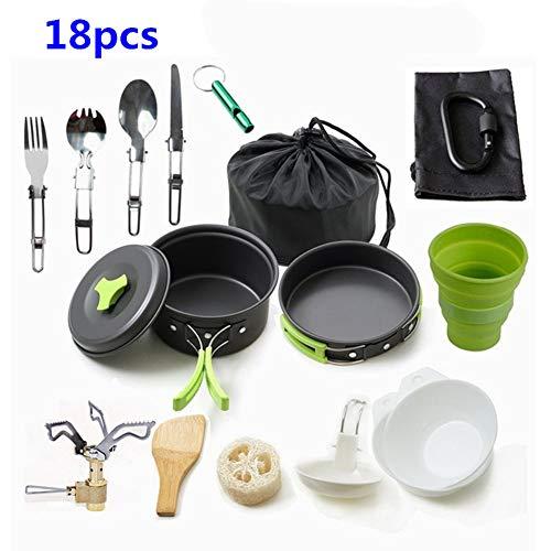 Fashion barra Tragbare Camping Kochgeschirr Mess kit Folding Cookset für Wandern Backpacking 14 Stück Leichte Durable Pot Pan Schalen Spork mit Nylontasche Outdoor Cook Ausrüstung (18 Stück)