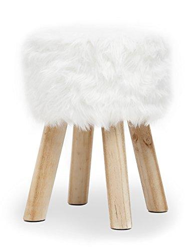 Suhu Fellhocker Hocker Fußhocker Ottoman Stuhl Weiß Kunstfell Rund Fur Klein Deko Modern Holzbeine (Wohnzimmer Stuhl Kleines)
