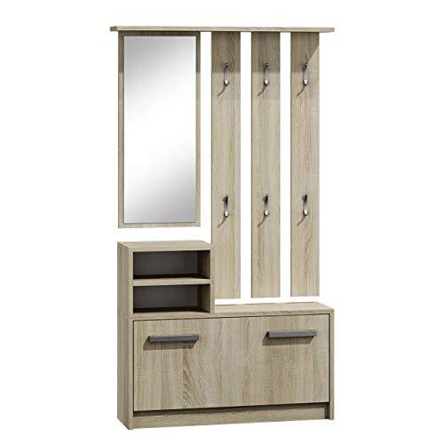 Mirjan24  Garderoben-Set Biel mit 6 Kleiderhaken, Spiegel, Schuhschrank, Farbauswahl, Wandgarderobe (Sonoma Eiche)