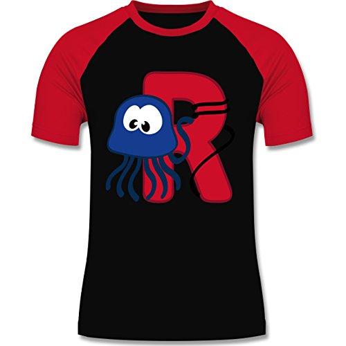 Anfangsbuchstaben - R Schifffahrt - zweifarbiges Baseballshirt für Männer Schwarz/Rot