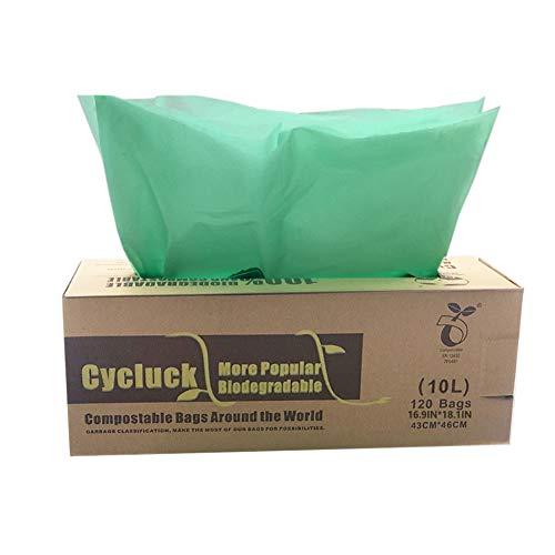 Cycluck 120 sacchetti 10l sacchi per la spazzatura compostabili 100% biodegradabili fatto da amido di mais con en 13432 6l 10l 30l borse rifiuti alimentari (10l)