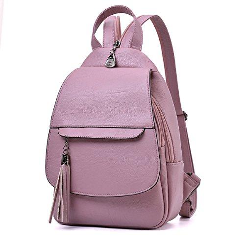 Neue Damen Rucksack Student Bag Korean Casual Einfache Mode Wild Handtaschen,Pink Pink