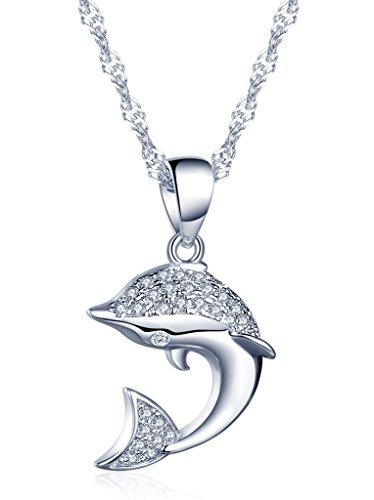 Unendlich U Süßer Delfin Delpfin Damen Halskette 925 Sterling Silber Zirkonia Anhänger Kettenanhänger, Silber