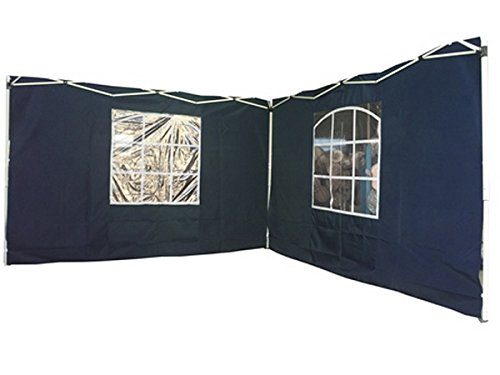 2 Seitenwände für 3x3 m Pavillion mit Fenster (300 x 200 cm) (Blau)