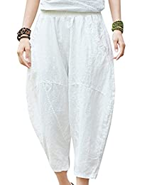7a73add8ef9c Happy Cherry - Pantalon Bouffant Été Femme Lin Pantalon Large Jambe Loisirs  Poches Pants 7