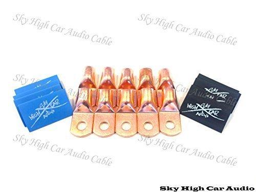 (10) 1/0 Gauge Copper Ring Terminals 3/8