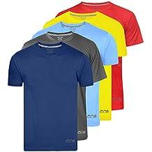 AWG - All Weather Gear Men's Polyester T-Shirt (Pack Of 5) (Awgdft-Bu-Dgr-Sbu-Ye-Rd)