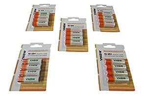 vhbw 20 x AA, Mignon, HR6, LR6 Batteria 2000mAh per General Imaging Z4300, Sanyo VPC-S1414, Xacti VPC-S6, VPC-S7, VPC-S50, VPC-S60, VPC-S70