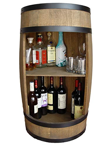 Weeco Mobile bar forma di botte legno 81 con ripiano