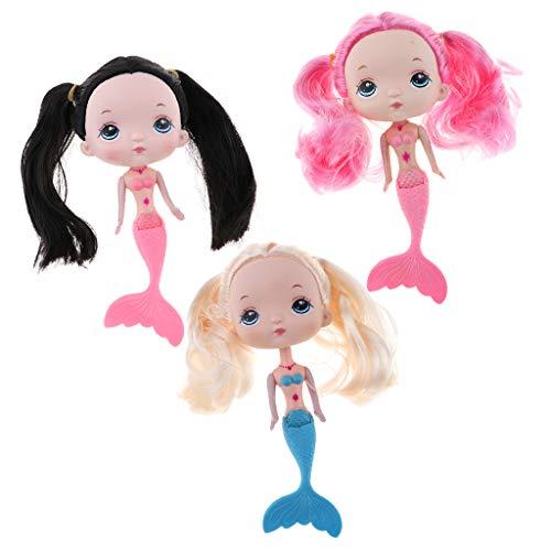 FLAMEER 3X Kleine Meerjungfrau Prinzessin Puppe mit großem Kopf, Badewanne Badespielzeug für Mädchen, Schwarz Goldenes Rotes Haar