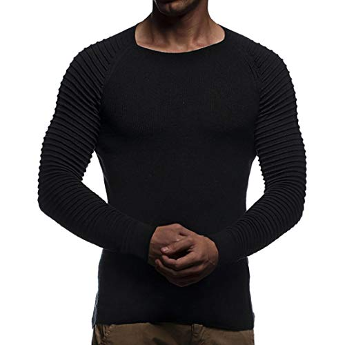 Winter Sweatshirt,Transwen Herren Herbst Winter Striped Drape Knit Langarm T-Shirt Top Bluse Rundhals Winterjacke Warm Baumwolle Sweatjacke Hochwertigem Pullover Outwear Tops (Schwarz,M) Drape Neck Mesh-top