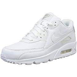 Nike Air MAX 90 Leather, Zapatillas de Running para Hombre, Blanco True White, 44 1/2 EU
