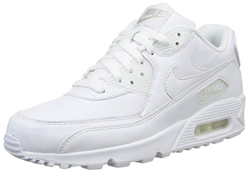 Nike Air Max 90 Leather Herren Sneakers, weiß (white/white), 44 ()