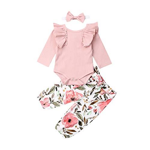 PDYLZWZY Infant Baby Mädchen Kleidung Set Langarm Strampler Overall + Floral Hose + Stirnband 3 Stück Kleinkind Baby Outfits 0-24 Monate (L, 70)