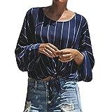 TianWlio Langarmshirt Damen T-Shirt Damen Langarmshirt Mode Frauen Langarm T-Shirt Rundhals Bluse Gestreift Gedruckt Oberteile Bandage Lässiges Blusen Shirt