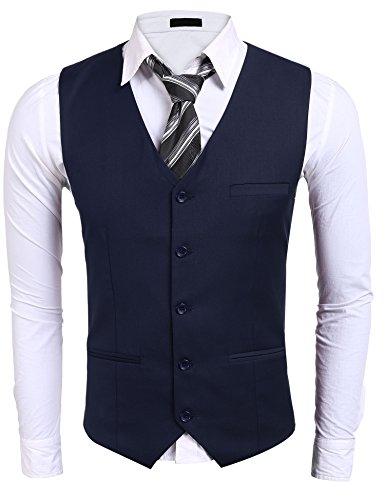 Burlady Herren Weste V-Ausschnitt Ärmellose Westen Slim Fit Jacke Lässige übergangsweste Business Freizeit Weste, Marineblau, X-Large (Polyester-freizeit-anzug-jacke)