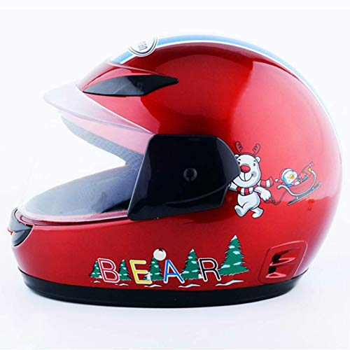 Motorrad Helm Elektrischer Helm Helm Reithelm Voller Helm Winter und Winter Kinderhelm (Color : Red)