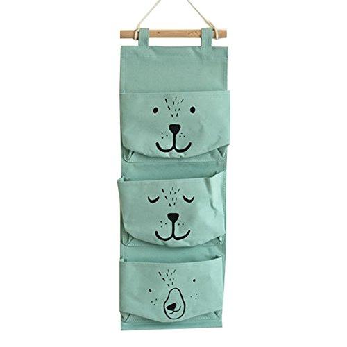 Meedot 3 Poches de Lin en Coton Sac de Poche Suspendu en Coton Garde-Robe Mur de Porte Simple accrocher Panier de Rangement Organe de Godet Space Saver Gift Smile Green