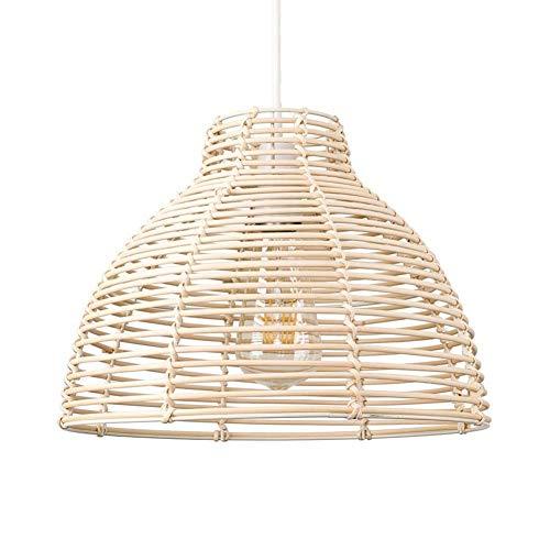 Lámpara De Techo Lámpara De Mimbre Moderna Cesta De Mimbre Sala De Estar Dormitorio Comedor Lámpara De Araña