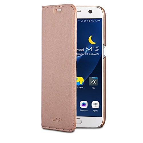 CASEZA Etui Samsung Galaxy S7 Rose Gold Cuir Végétalien Oslo Housse Folio à Rabat Portefeuille Livre en Simili Cuir Haut de Gamme pour Galaxy S7 Original - Ultra Mince avec Fermeture Magnétique