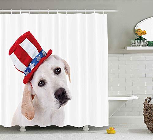 rhang, 4. Juli Duschvorhang niedlichen weißen Hund mit Einem Uncle Sam Hut Unabhängigkeitstag Feier Stoff Badezimmer Dekor Set Haken extra breit ()