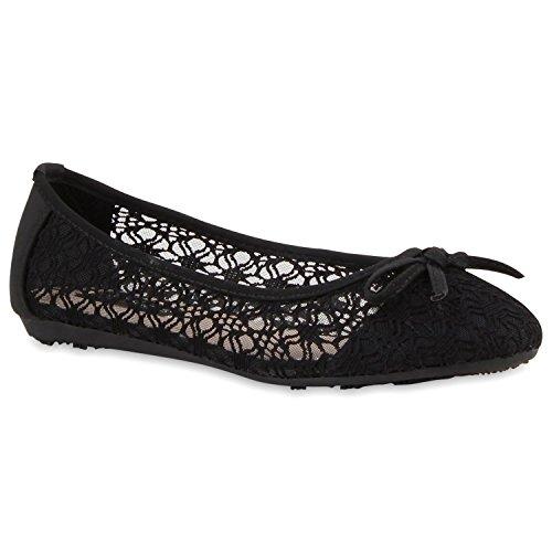 Klassische Damen Ballerinas   Flats Slipper Flache Schuhe   Übergrößen   Spitze Metallic Glitzer Schwarz Spitze