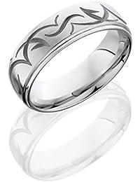 Cobalt Chrome, Contemporary Engraved Satin Domed Wedding Band (sz H to Z1)
