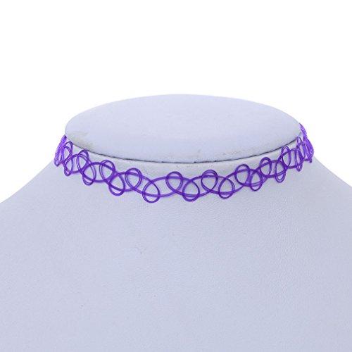 Yazilind Collier Pendentif Dragon cou Gothique stretch style tatouage Henné Noir élastique 80s 90s Violet