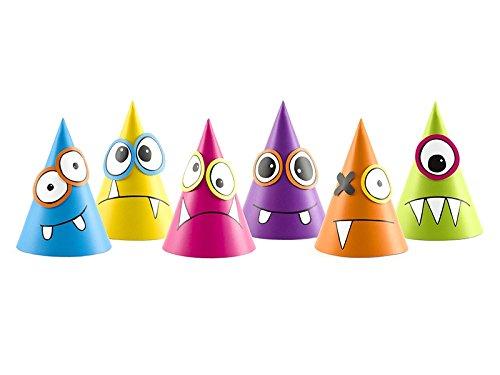 SiDeSo® 6 Stück Monsterhüte Kinder Geburtstag Motto Hüte