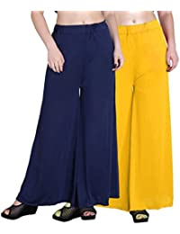 OOPLI :Palazzo Pack-2 Elastic Waist Wide Leg Flared Soft Malai Lycra Palazzo Pants For Women's(Navy Blue,Yellow...