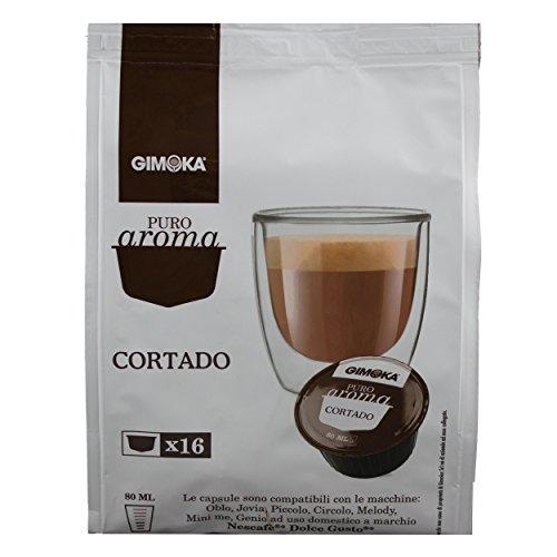 Puro Gimoka Aroma Cortado, completamente latte polvere con caffè solubile, caffè capsula, Nescafé Dolce Gusto compatibile, marrone, 160 capsula